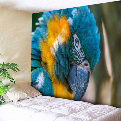 Microfiber Wall Hanging Parrot Printed Tapestry - BLUE W59 INCH * L79 INCH
