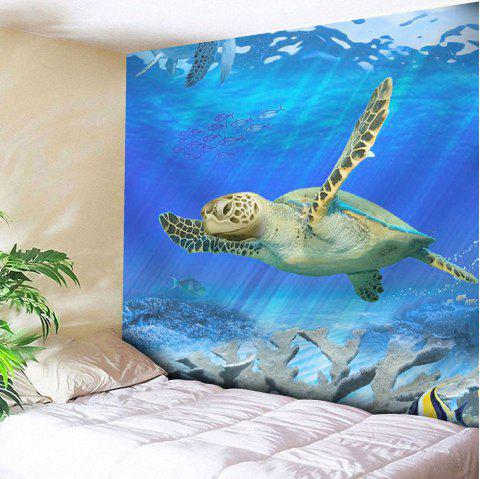 Wall Hanging Sea Turtle Print Microfiber Tapestry - BLUE W59 INCH * L59 INCH