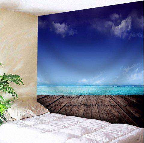 Microfiber Wall Hanging Seaside Scenery Home Tapestry - BLUE W51 INCH * L59 INCH