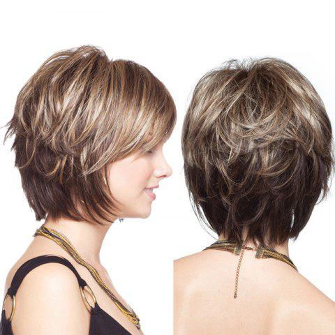 Short Colormix Layered Shaggy Straight Synthetic Wig - COLORMIX