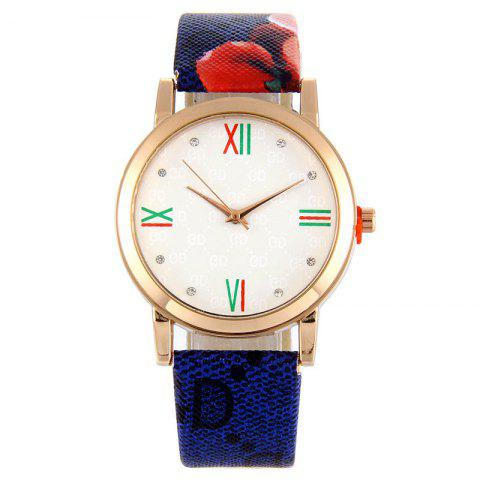 Flower Print Faux Leather Strap Watch - BLUE