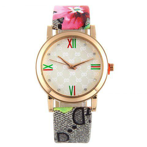 Flower Print Faux Leather Strap Watch - RED