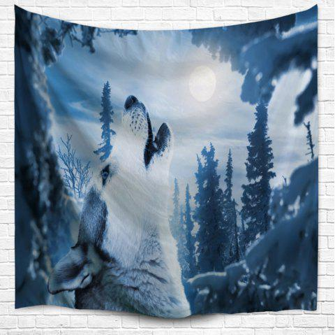 Wild Wolf Bedspread Wall Art Hanging Tapestry - NIGHT BLUE W51 INCH * L59 INCH