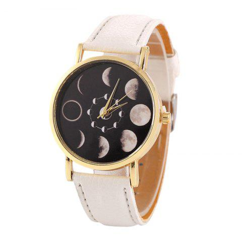 Faux Leather Lunar Eclipse Face Watch - WHITE