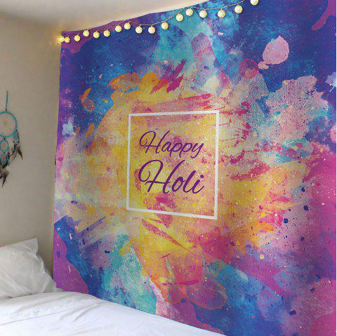 Waterproof Happy Holi Watercolor Wall Tapestry - COLORFUL W59 INCH * L51 INCH
