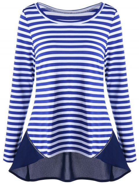 Zip Back Chiffon Trim Striped Top - Bleu XL