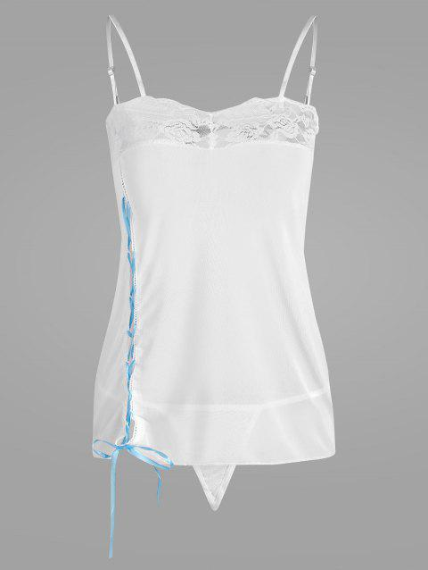Lace-Up Sheer Lingerie Camisole - WHITE ONE SIZE