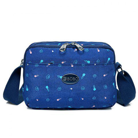 Multi Zips Printed Crossbody Bag - DEEP BLUE