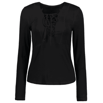 Stylish Lucky Lace Up Women's Top - BLACK L