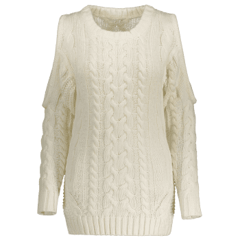 2018 Cold Shoulder Cable Knit Sweater Off White Xl In Sweaters
