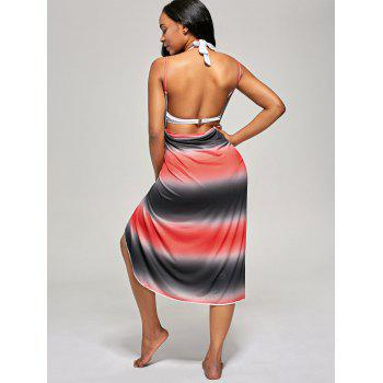 Ombre Wrap Cover Up Slip Dress - Rouge ONE SIZE