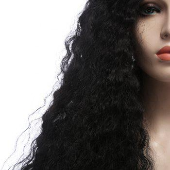 Towheaded Curly Long Synthetic Lace Front Wig - BLACK