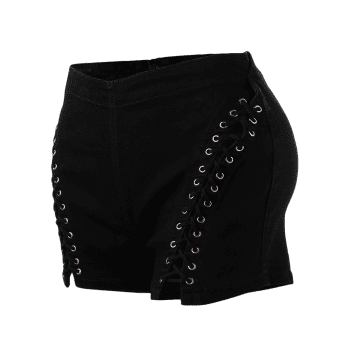 High Waist Lace Up Denim Shorts - BLACK M