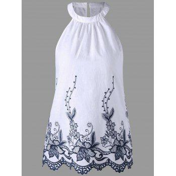 Embroidery Scalloped Edge Sleeveless Blouse
