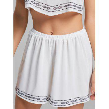 Strapless Printed Top and Shorts - WHITE WHITE