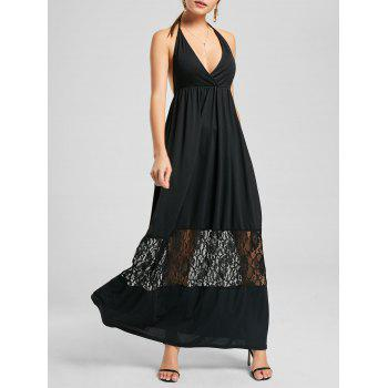 Halter Maxi Open Back Dress with Lace Trim