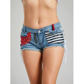 Striped Star Pocket Zipper Lace Up Shorts - BLUE BLUE