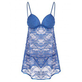 Lace Sheer Slip Babydoll Dress - BLUE 2XL