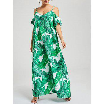 Tropical Leaf Print Spaghetti Strap Dress