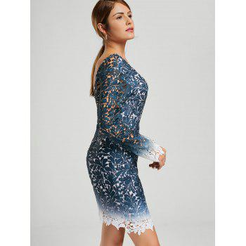 Ombre Lace Long Sleeve Open Back Dress - BLUE BLUE