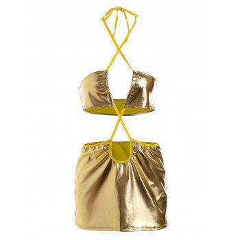Metallic Color Cut Out Lingerie Dress - YELLOW L