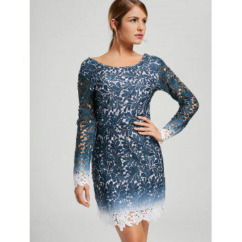 Ombre Crochet Lace Long Sleeve Open Back Dress - BLUE XL