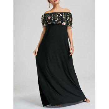 Embroidery Ruffle Off Shoulder Floor Length Dress