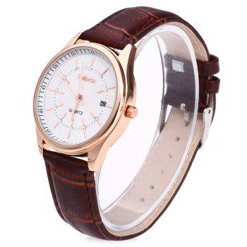 Faux Leather Date Rhinestone Watch - BROWN
