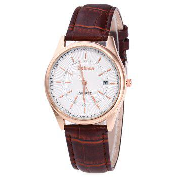 Faux Leather Date Rhinestone Watch - BROWN BROWN