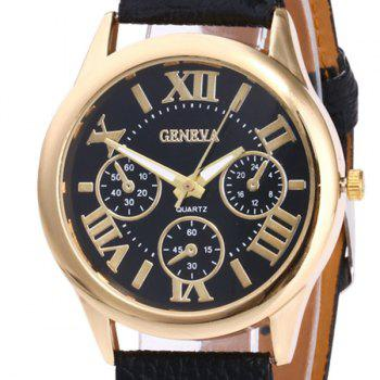 Roman Numeral Faux Leather Strap Watch -  BLACK