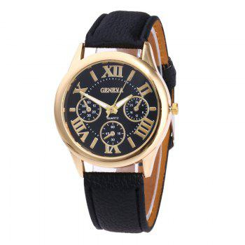 Roman Numeral Faux Leather Strap Watch - BLACK BLACK