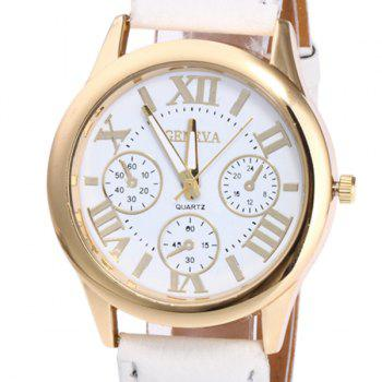 Roman Numeral Faux Leather Strap Watch -  WHITE