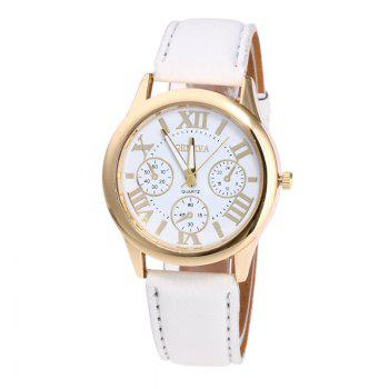 Roman Numeral Faux Leather Strap Watch - WHITE WHITE