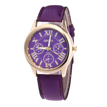 Roman Numeral Faux Leather Strap Watch - PURPLE PURPLE