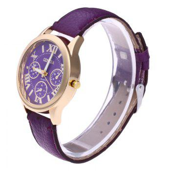 Roman Numeral Faux Leather Strap Watch -  PURPLE