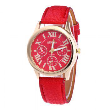 Roman Numeral Faux Leather Strap Watch - BRIGHT RED BRIGHT RED