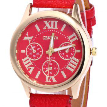 Roman Numeral Faux Leather Strap Watch -  BRIGHT RED