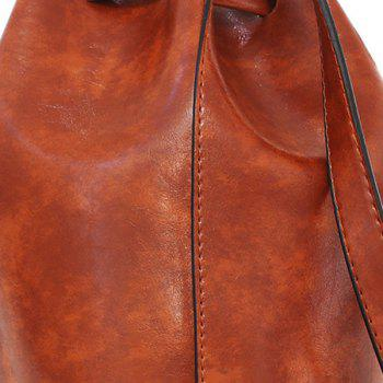 Faux Leather 3 Pieces Bucket Bag Set -  WINE RED