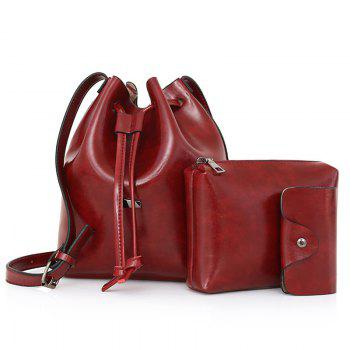 Faux Leather 3 Pieces Bucket Bag Set - WINE RED WINE RED