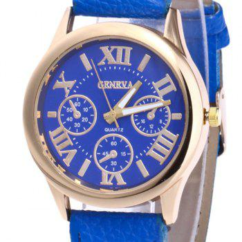 Roman Numeral Faux Leather Strap Watch - ROYAL