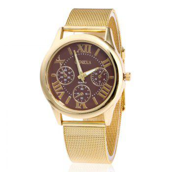 Roman Numeral Mesh Steel Strap Watch - COFFEE COFFEE