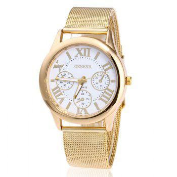 Roman Numeral Mesh Steel Strap Watch - WHITE WHITE