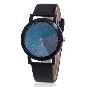 Faux Leather Glitter Ombre Watch - BLACK BLACK