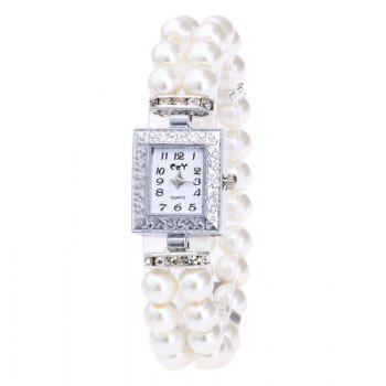 Rectangle Faux Pearl Layered Bracelet Watch - WHITE WHITE