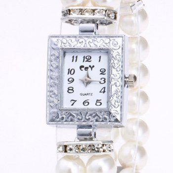 Rectangle Faux Pearl Layered Bracelet Watch -  WHITE