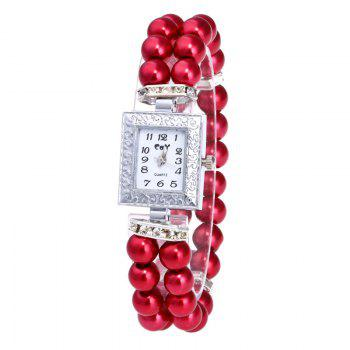 Rectangle Faux Pearl Layered Bracelet Watch - RED RED