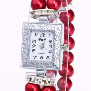 Rectangle Faux Pearl Layered Bracelet Watch -  RED