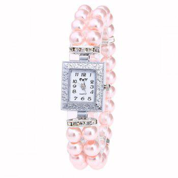 Rectangle Faux Pearl Layered Bracelet Watch - PINK PINK