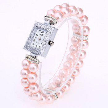 Rectangle Faux Pearl Layered Bracelet Watch -  PINK