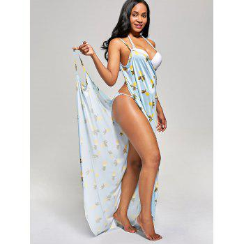 Pineapple Wrap Maxi Cover Up Dress - LIGHT BLUE M